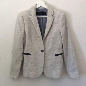 Zara Basic Tweed Blazer w/ Elbow Patcheds Sz M